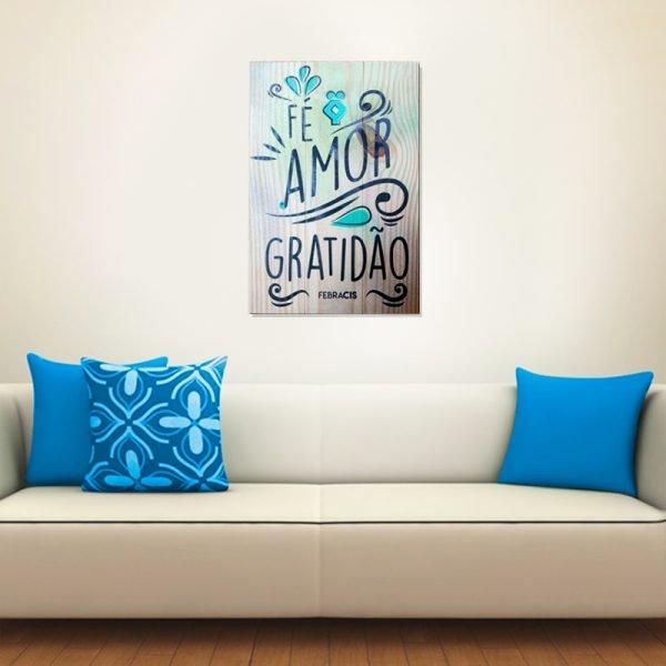 """Quadro-em-Madeira-""""Fe-Amor-Gratidao"""""""